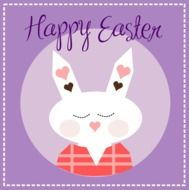Happy Easter, greeting card with Cute Bunny