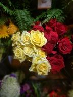 yellow and red Roses, bouquet