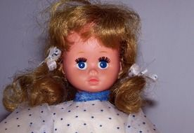 doll with bright blue eyes