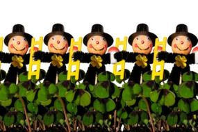 greeting card with a chimney sweep and happy clover
