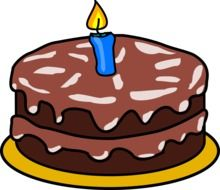 graphic image of a chocolate cake with one candle