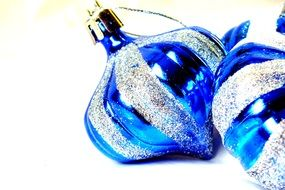 blue Christmas balls with tinsels