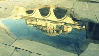 Reflection of the architecture on a water