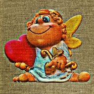 funny cupid holds big heart, print on tissue