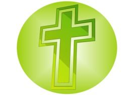 painted christian cross in a green circle
