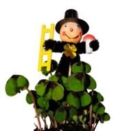 chimney sweep with lucky clovers decoration