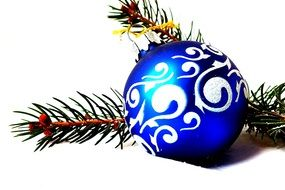 blue painted Christmas bauble