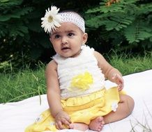 charming baby in elegant dress