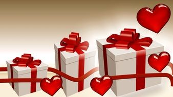 painted gifts with red ribbons and red hearts