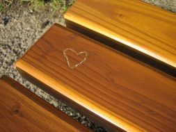 Heart form on Wooden Bench