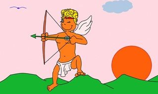 drawing of cupid on a green hill