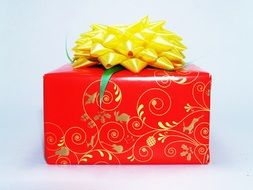 gift in bright red packaging