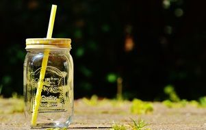 glass jar for a refreshing drink on a summer day