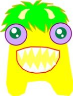 yellow funny monster drawing