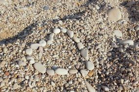 heart of stones on a pebble beach