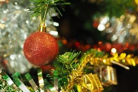 bronze ball on christmas tree