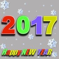 Lettering Happy New Year 2017 drawing