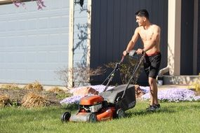 shirtless guy with a lawn mower