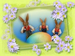 Easter card with hares