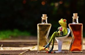 toy Frog with goblet sits on chair between colorful Bottles