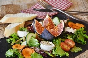vegetable salad and figs