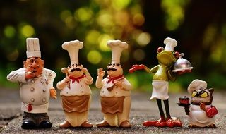 Chefs funny figures in hats