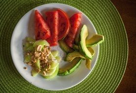 Cucumber,avocado and tomato salad on the plate