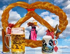 Beer and pretzels on the Oktoberfest in the Bavaria