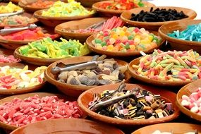 a variety of sweets in dishes