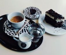 Picture of Coffee and Water and cake