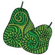 Pear Fruit Abstract green drawing