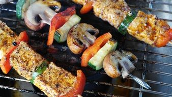 meat kebab with grilled vegetables