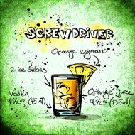 cocktail recipe screwdriver on poster