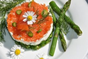 appetizer with cream cheese and asparagus