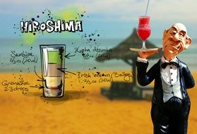 Hiroshima Cocktail with funny waiter art collage