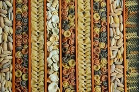 variety of pasta close-up