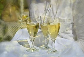 three glasses of champagne on a tray