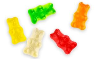 multi-colored chewing bears on a white background