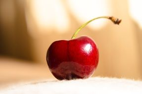 red cherry on a blurred background