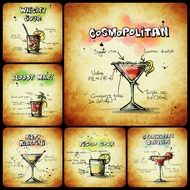 collage with alcoholic cocktails