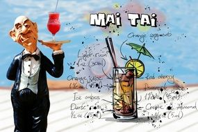 Mai Tai Cocktail recipe, creative illustration