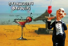 recipe of strawberry daiquiri cocktail