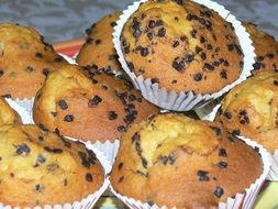 muffins with chocolate for a tea party