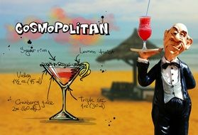 wallpaper with recipe of cosmopolitan cocktail