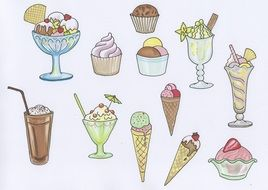 drawn sweet desserts on a banner