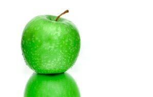 mirror reflection of a green apple