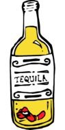 drawn bottle of tequila