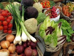 vegetables on the counter in the market