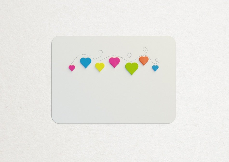 colorful hearts on a postcard