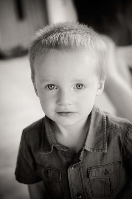 black and white portrait of a cute boy